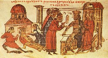 Miniature 67 from the Manasses Chronicle, 14th century, murder of Romanos III.  by order of Michael IV.