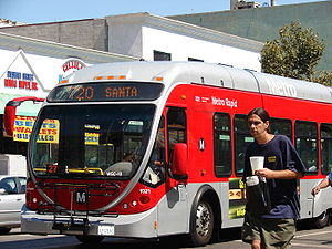 Los Angeles County Metropolitan Transportation Authority - A Metro Rapid articulated bus on Line 720 (Wilshire Blvd. Whittier Blvd.).