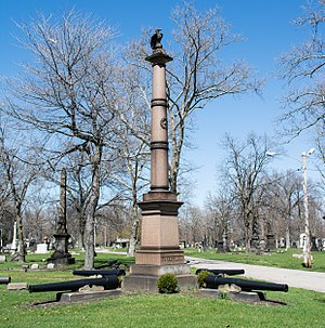 Woodland Cemetery (Cleveland) - The 7th Ohio Volunteer Infantry Memorial, erected in 1871.