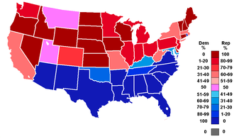 80th United States Congress - Percentage of members from each party by state at the opening of the 80th Congress, ranging from dark blue (most Democratic) to dark red (most Republican).