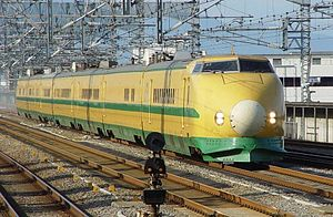 "Class 962 Shinkansen - Class 925-10 ""Doctor Yellow"" set S2, converted from the former Class 962 trainset, at Takasaki in September 2002"