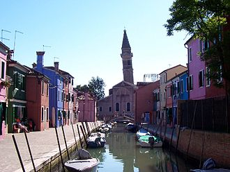 Burano - The leaning campanile from Terranova sestiere.
