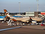 A6-EYH (aircraft) at Schiphol airport.JPG