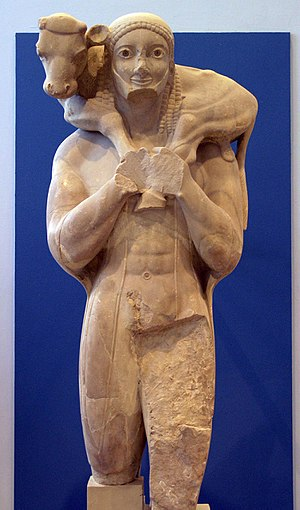 Kriophoros - The Moschophoros of the Acropolis, ca 570 BCE.