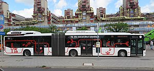 Battery electric bus - Mercedes-Benz Citaro battery powered articulated bus in Aachen, Germany