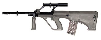 Bullpup - The Steyr AUG was one of the first bullpup rifles to enter widespread use.