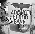 A 'Vampire' sign outside an Army Blood Transfusion Service advanced blood bank in the Western Desert, 29 October 1942. E18700.jpg