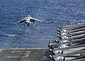 A U.S. Marine Corps AV-8B Harrier aircraft assigned to Marine Medium Tiltrotor Squadron (VMM) 266, 26th Marine Expeditionary Unit (MEU) takes off from the flight deck of the amphibious assault ship USS Kearsarge 131101-M-SO289-005.jpg