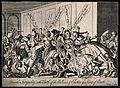 A crowd of men and women are brawling, some have fallen off Wellcome V0039165.jpg