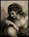 A female figure resting her arm on a globe; representing geo Wellcome V0007537.jpg