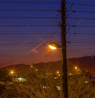 Street light - A street light at dusk in South Africa