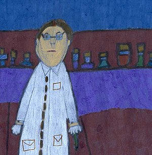 English: A child's drawing of a scientist.
