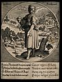 A woman with shears holding a sheep; representing June. Engr Wellcome V0007630.jpg