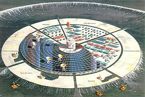 "Self-replicating machine - An artist's conception of a ""self-growing"" robotic lunar factory"