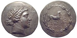 Cyme (Aeolis) - Aeolis, Kyme; Tetradrachm; Silver; circa 165-140 BC; Obverse: Head of the Amazon Kyme right, wearing taenia; Reverse: Horse walking right, skyphos (one handled cup) below, ΚΥΜΑΙΩΝ left, ΣΕΥΘΗΣ (magistrate) in exergue, all within laurel-wreath; 34.2mm, 16.409g; Reference: SNG Von Aulock 1640; Oakley obv. die 59; Sg4183 var