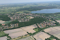 Aerial view with the Lake Bederkesa