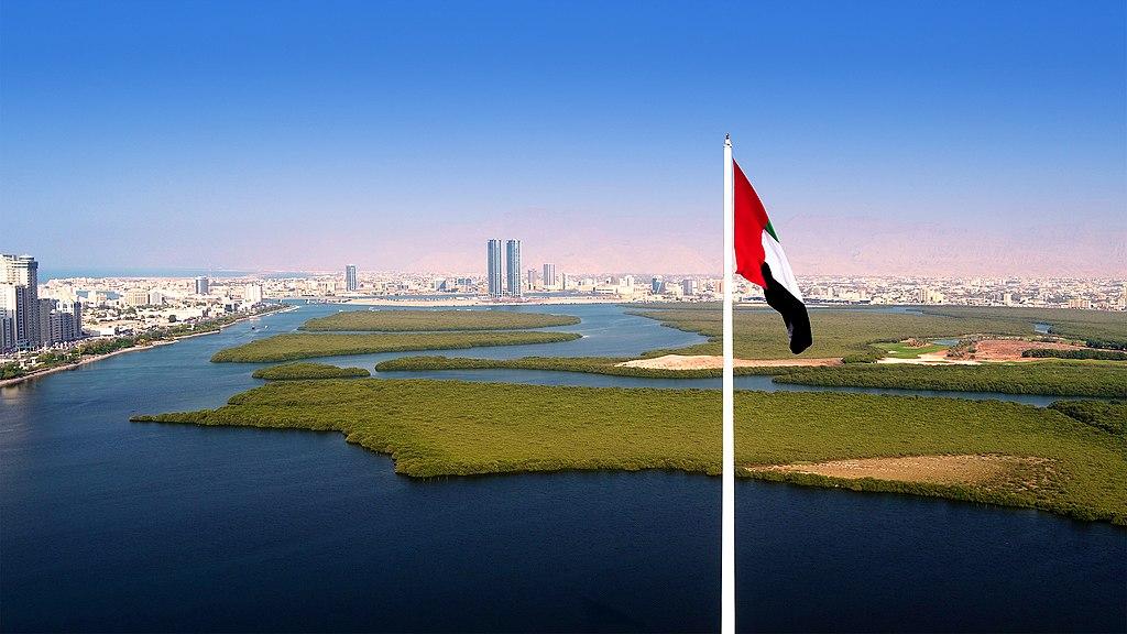 Aerial view of RAK City from Al Qawasim Corniche flagpole.jpg