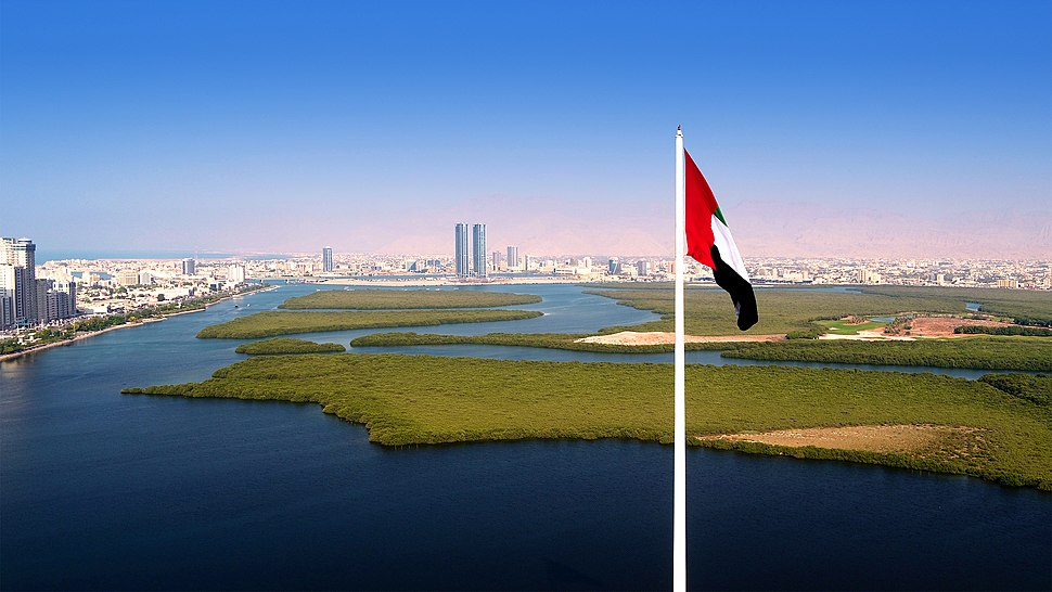 Aerial view of RAK City from Al Qawasim Corniche flagpole