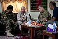 Afghan National Army Maj. Gen. Sayed Malook, left, the commanding general of the 215th Corps, speaks with U.S. Marine Corps Maj. Gen. Walter L. Miller, center, the commanding general of Regional Command 130509-M-RF397-064.jpg