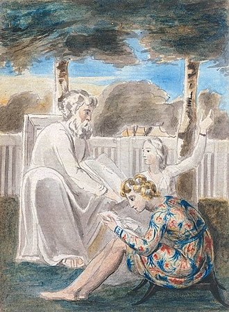 "Mentorship - William Blake's watercolor of ""Age teaching youth"", a Romantic representation of mentorship. Blake represented this type of relationship in many of his works, including the illustrations of his Songs of Innocence. The original object is currently held by Tate Britain"