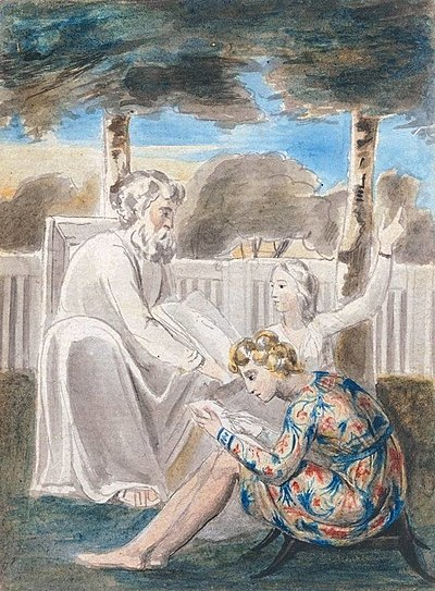 "William Blake's watercolor of ""Age teaching youth"", a Romantic representation of mentorship. Blake represented this type of relationship in many of his works, including the illustrations of his Songs of Innocence. The original object is currently held by Tate Britain.[13]"