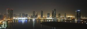 Sharjah - Image: Al Khan Lagoon by Night