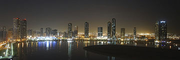 Panoramic view of the Al Khan Lagoon looking south by night.
