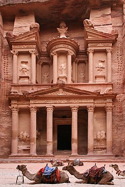 Al-Khazneh in Petra (c. 1st century AD), is believed to be the mausoleum of the Arab Nabataean King Aretas IV. Al Khazneh Petra edit 2 (cropped).jpg