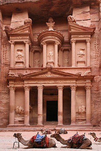 Stone carving - Khazneh structure carved into a cliff in Petra southern Jordan