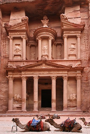 Khazneh structure carved into a cliff in Petra southern Jordan