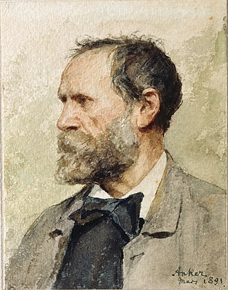 Albert Anker - Self-portrait in profile, left (1891) Watercolours, 16.3 × 12.7 cm