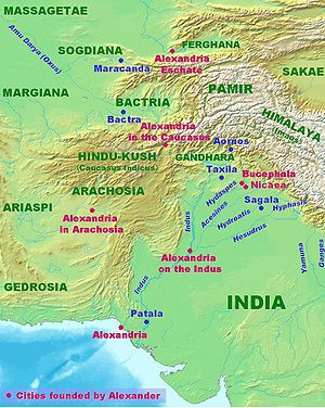Alexandria Bucephalous - Image: Alexander India Map