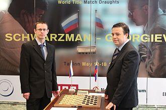 2013 World Draughts Championship match - Match Georgiev (left) v Schwarzman (right).