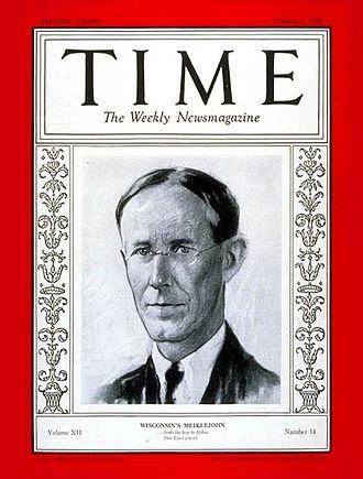 Alexander Meiklejohn - 1928 Time cover featuring Meiklejohn