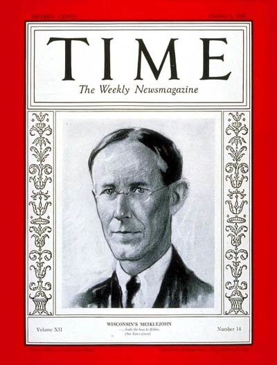 Alexander Meiklejohn Time magazine cover, October 1, 1928