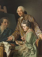 The Artist and his Wife Marie Suzanne Giroust painting the Portrait of Henrik Wilhelm Peill