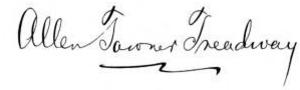 Allen T. Treadway - Image: Allen Towner Treadway signature