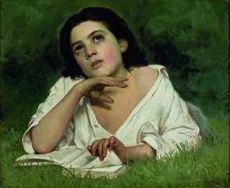 Thought - Girl with a Book by José Ferraz de Almeida Júnior