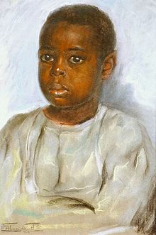 A pastel portrait of young black boy dressed in a white shirt