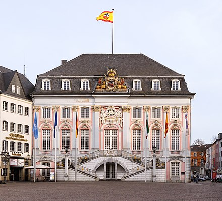 The Altes Rathaus (old town hall) as seen from the central market square. It was built in 1737 in Rococo-style.