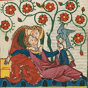 Bianca Lancia - Cutting from the Codex Manesse depicting the minnesinger Konrad von Altstetten with his lover, often identified with Frederick and Bianca