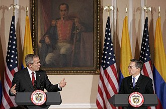 Álvaro Uribe - President Álvaro Uribe during a visit of US president George W. Bush to Colombia.