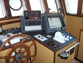 Fishing trawler - Decca Navigator (Mark 21) and Decca Track Plotter (the forerunners of modern GPS navigation and plotting equipment) on the bridge of this (rather dated) trawler.