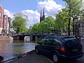 Amsterdam canal Heibrug Bridge and Chrysler RG Voyager.jpg