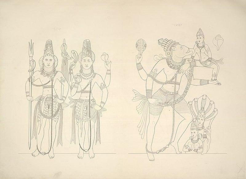 File:An 1853 sketch of 6th century stone carvings of Shiva, Harihara (half Shiva, half Vishnu), Varaha with Bhudevi, Ravana Phadi Hindu Cave Temple.jpg