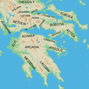 Achaea (ancient region) - Map showing the position of Achaea in Peloponnesus.