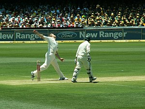 Flintoff bowling against Australia in The Ashe...
