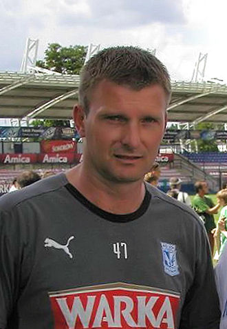 Lech Poznań - The striker Andrzej Juskowiak, top goalscorer and champion in the Ekstraklasa in 1990 with 18 goals.