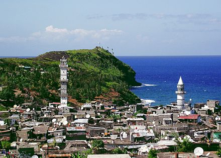 A view of a coastal town in Anjouan including mosque Anjouan - Islands of Comoros.jpg