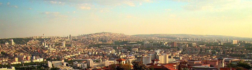 A panoramic view of the city from the Ankara castle and citadel